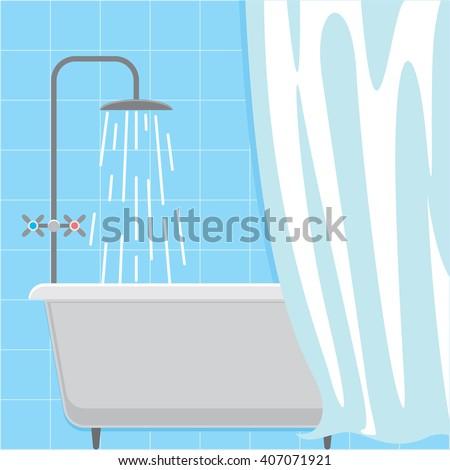 Bathroom interior. Bath shower hygienic procedure. Douche icon. Relaxing bath. Vector illustration - stock vector