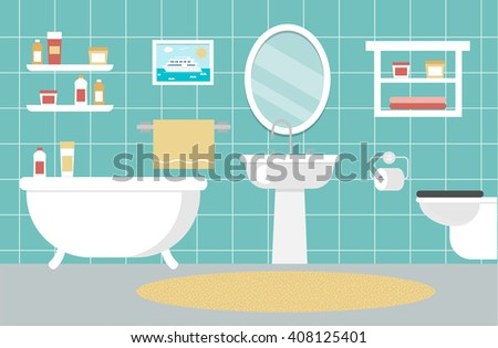 Bathroom interior design with toilet and bathtub, vector illustration.  Background with bath, lavatory. Bathroom interior  icons. Bathroom interior  art. Bathroom interior web. Bathroom interior new.  - stock vector