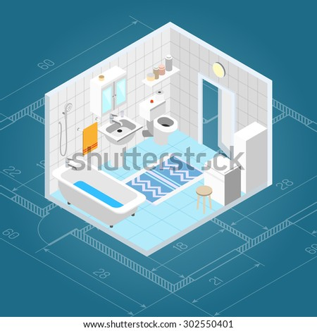 Bathroom interior isometric with 3d bath and toilet furniture icons vector illustration - stock vector