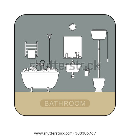 Bathroom interior with toilet, sink and hygienic supplies. Vector line illustration of bathroom.