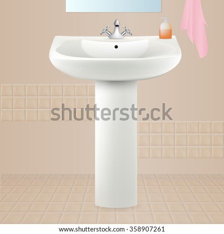 Bathroom interior with white sink. Liquid soap, towel and mirror. Vector illustration