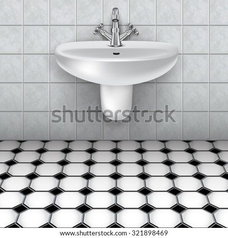 Bathroom interior with white sink. Vector illustration - stock vector