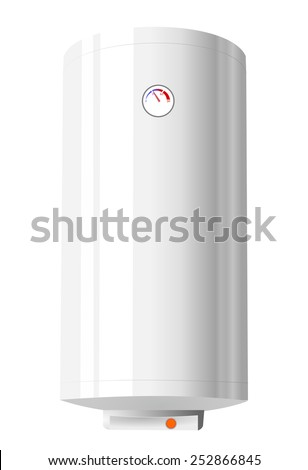 Bathroom object concept - 3d shiny electric water heater. realistic style design boiler, vector art image illustration, front view, isolated on white background - stock vector