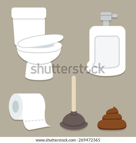 Bathroom related objects: toilet bowl and urinal, roll of toilet paper, plunger and a pile of poop.