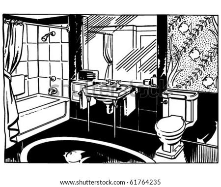Bathroom 2 Retro Clip Art Stock Vector 61764235
