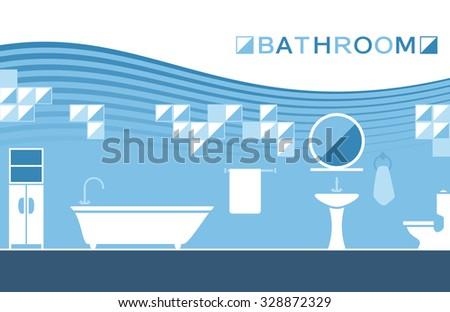 Bathroom sanitary ware - stock vector