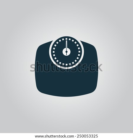 Bathroom scale. Flat web icon, sign or button isolated on grey background. Collection modern trend concept design style vector illustration symbol - stock vector