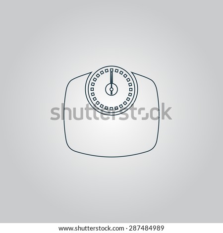 Bathroom scale. Flat web icon, sign or button isolated on grey background. Collection modern trend concept design style vector illustration symbol
