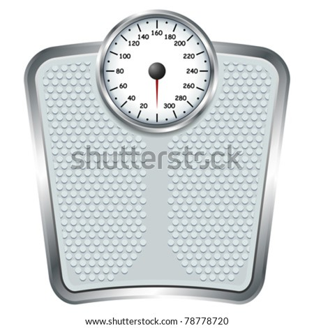 Bathroom scale isolate over white square background - stock vector