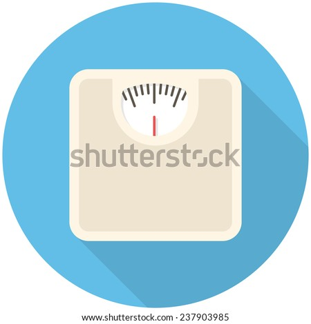 Bathroom scale, modern flat icon with long shadow