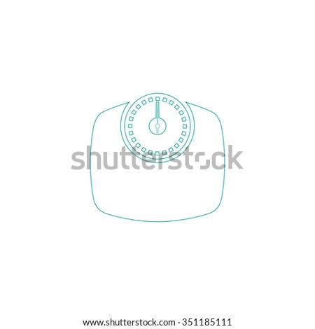 Bathroom scale Outline vector icon on white. Line symbol pictogram
