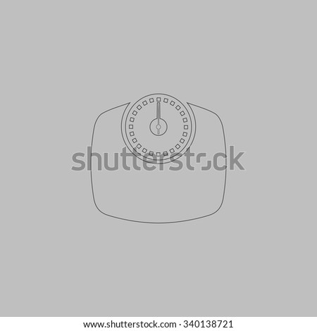 Bathroom scale. Outlne vector icon on grey background - stock vector