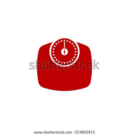 Bathroom scale. Red flat icon. Vector illustration symbol - stock vector
