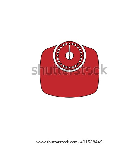 Bathroom scale. Red flat simple modern illustration icon with stroke. Collection concept vector pictogram for infographic project and logo - stock vector