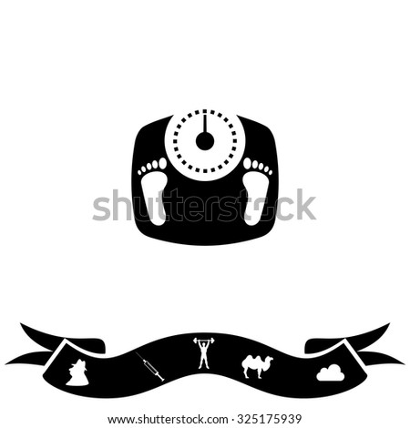 Bathroom scale with footprints. Black flat icon and bonus pictogram with ribbon. Vector illustration symbol - stock vector