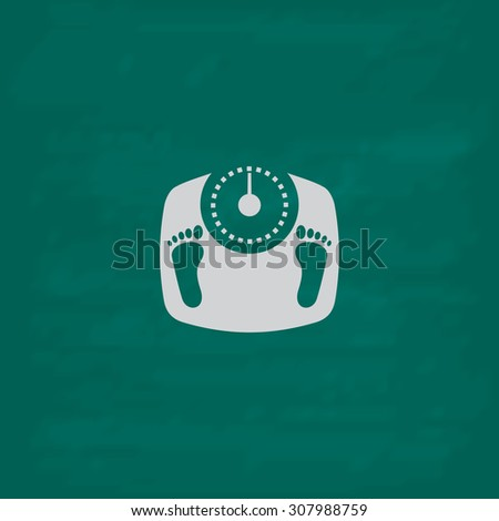 Bathroom scale with footprints. Icon. Imitation draw with white chalk on green chalkboard. Flat Pictogram and School board background. Vector illustration symbol - stock vector