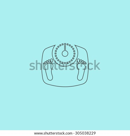 Bathroom scale with footprints. Simple outline flat vector icon isolated on blue background - stock vector