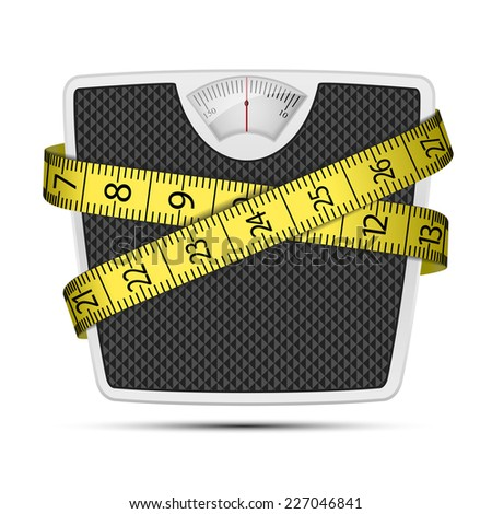 bathroom scale with tape measuring, eps10 - stock vector