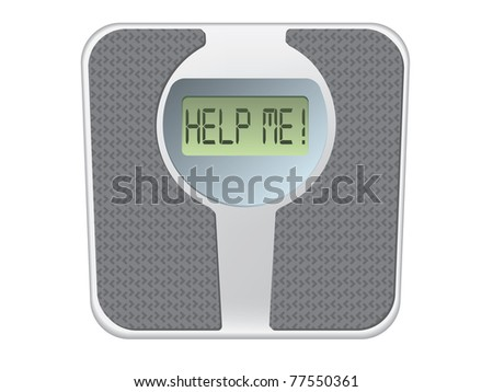 Bathroom scale with the word help me! on the screen - stock vector