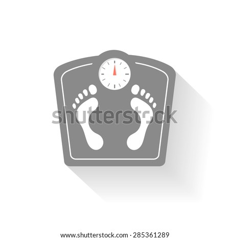 Bathroom scales icons set. Weight control signs with  footprint. Health symbol - stock vector