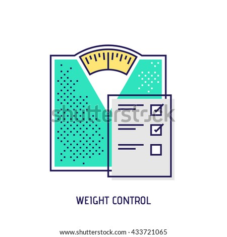 Bathroom scales modern thin line illustration. Weight control concept. Vector icon. - stock vector