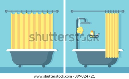 Bathroom shower interior in flat cartoon vector style with open and closed shower curtain. - stock vector