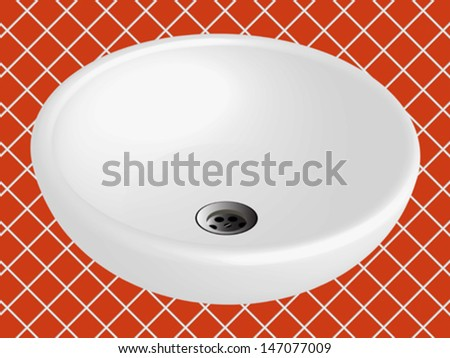 bathroom sink against orange ceramic tiles background, abstract vector art illustration - stock vector
