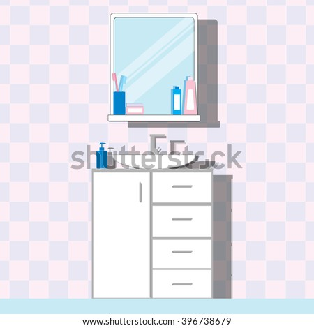 Bathroom sink with tap, stand and mirror, bottle, cream in the packaging, liquid soap. Modern bathroom interior. Flat vector illustration. - stock vector