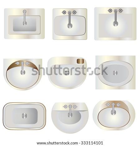 Bathroom, wash basin  set 9 top view for interior ,vector illustration  - stock vector