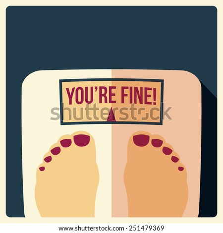 Bathroom weight scales with feet, flat design, vector illustration - stock vector