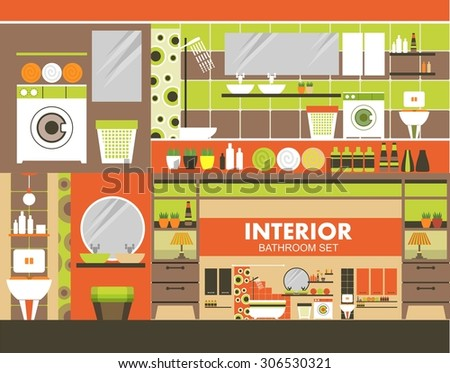 Bathroom with complimentary toiletries and furnishings in the flat style and retro colors - stock vector