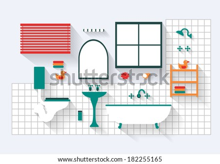 Bathroom with Fixtures and Fittings Long Shadows  - stock vector