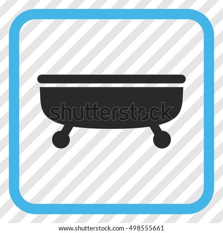 Bathtub blue and gray vector icon. Image style is a flat icon symbol in a rounded square frame on a transparent diagonally hatched background.