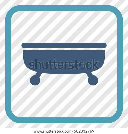 Bathtub cyan and blue vector icon. Image style is a flat pictogram symbol in a rounded square frame on a transparent diagonally hatched background.