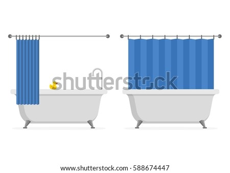 Bathtub Open And Closed Shower Curtain With Yellow Rubber Duck Isolated On White Background Bath