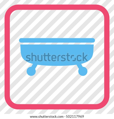Bathtub pink and blue vector icon. Image style is a flat iconic symbol inside a rounded square frame on a transparent diagonally hatched background.