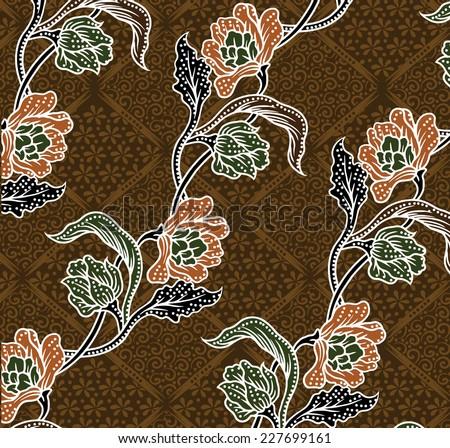 batik floral pattern.design for fabric. - stock vector