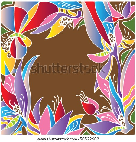 batik flower and butterfly decorative frame