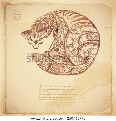Batik vector tribal background with cat - stock vector