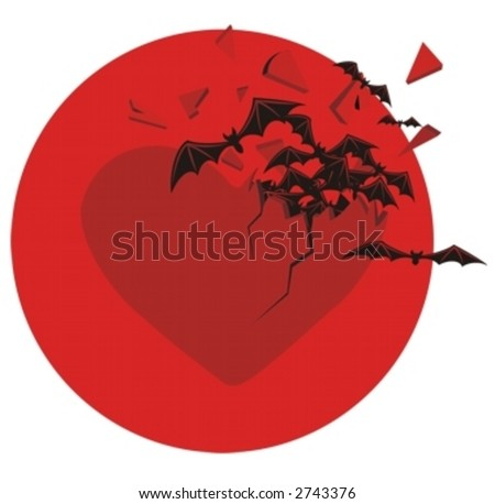 bats breaking out from the heart