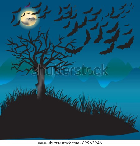 bats flying in the moonlight and a tree - stock vector