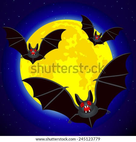 Bats on the Full Moon and starry sky background - stock vector