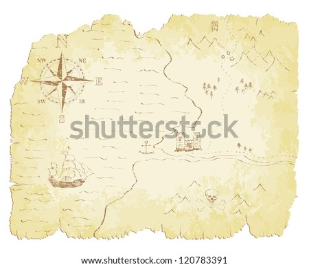 Battered and faded old map vector illustration. - stock vector