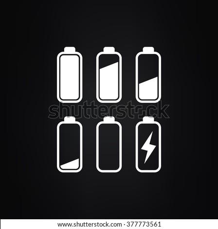 Batteries icon set vector - stock vector