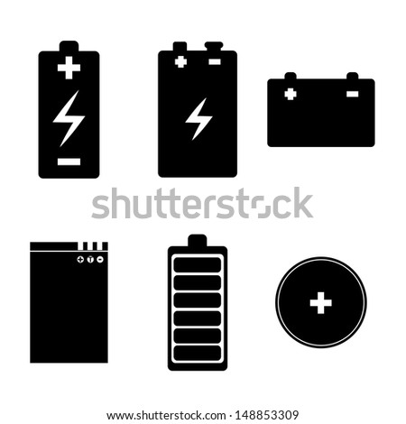 batteries icons over white background vector illustration  - stock vector