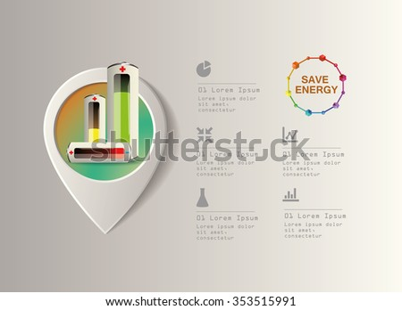 batteries infographic and ecology concept vector illustration - stock vector