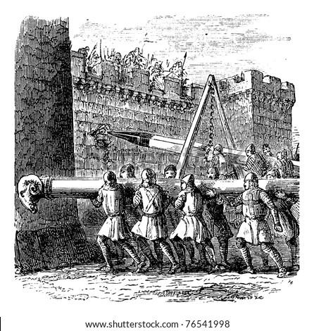 Battering Ram, vintage engraving. Old engraved illustration of battering rams being used on a castle. Trousset Encyclopedia - stock vector