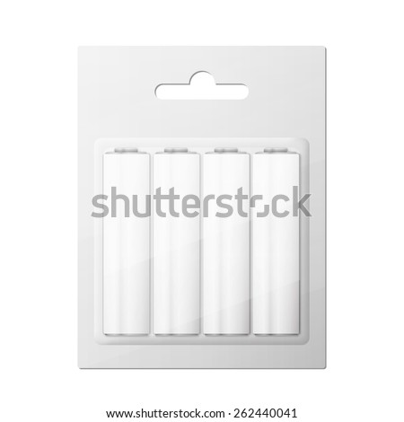 Battery AA blister packed, excellent vector illustration, EPS 10 - stock vector