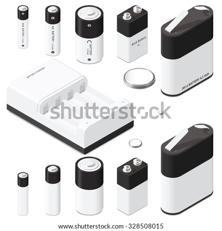 Battery and battery charger isometric icon set vector graphic illustration