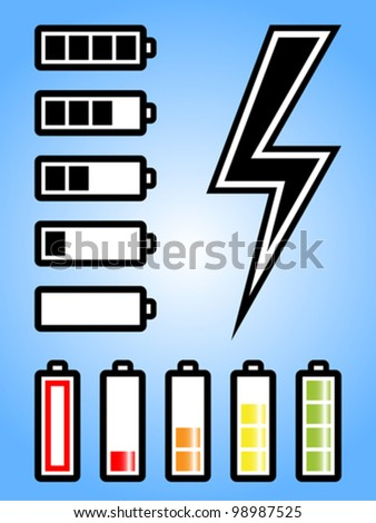 Battery and electricity power icon with charge level. Fully editable vector. - stock vector